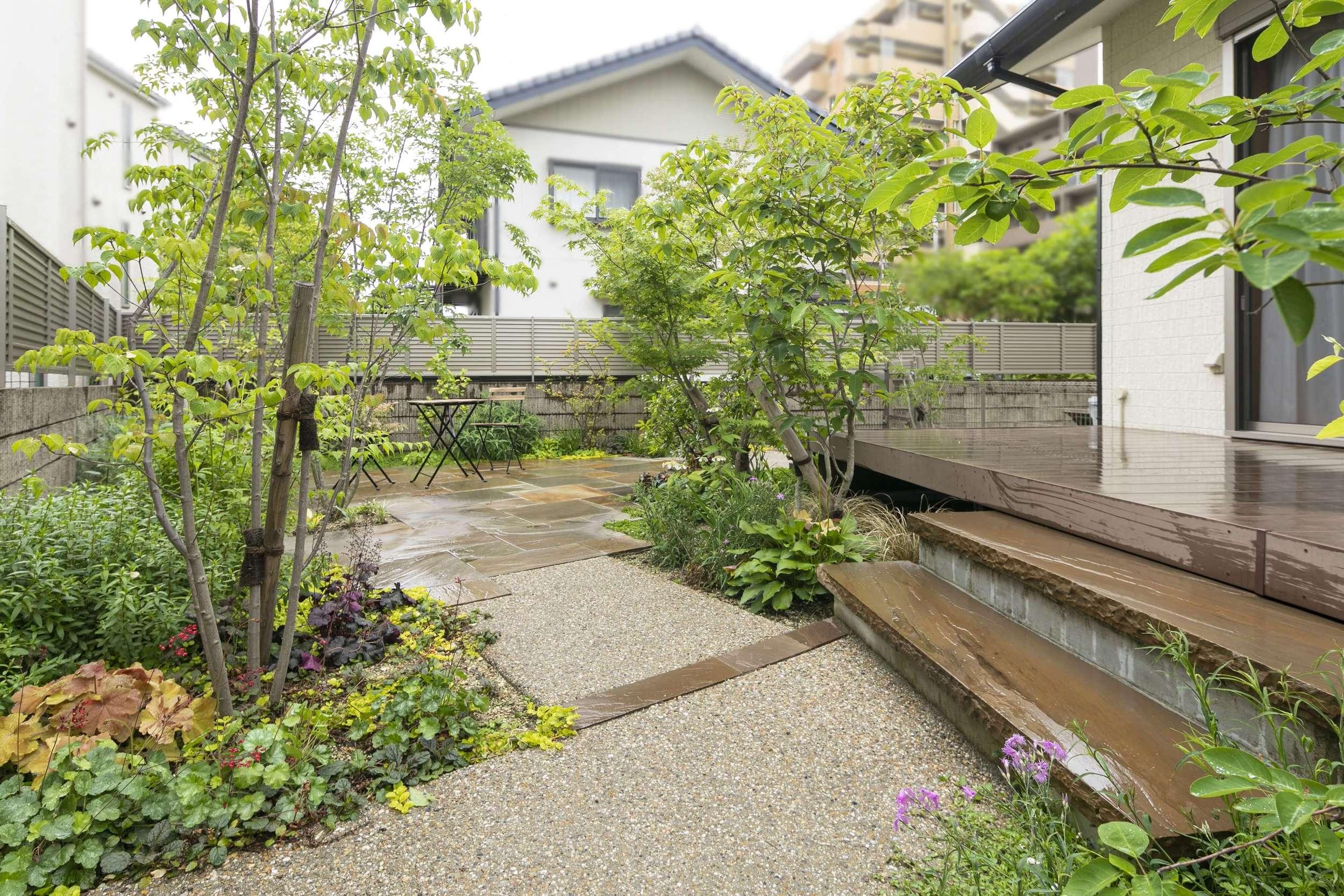 ナチュラル きれい 庭 ガーデン 植栽 カラーリーフ 自然石