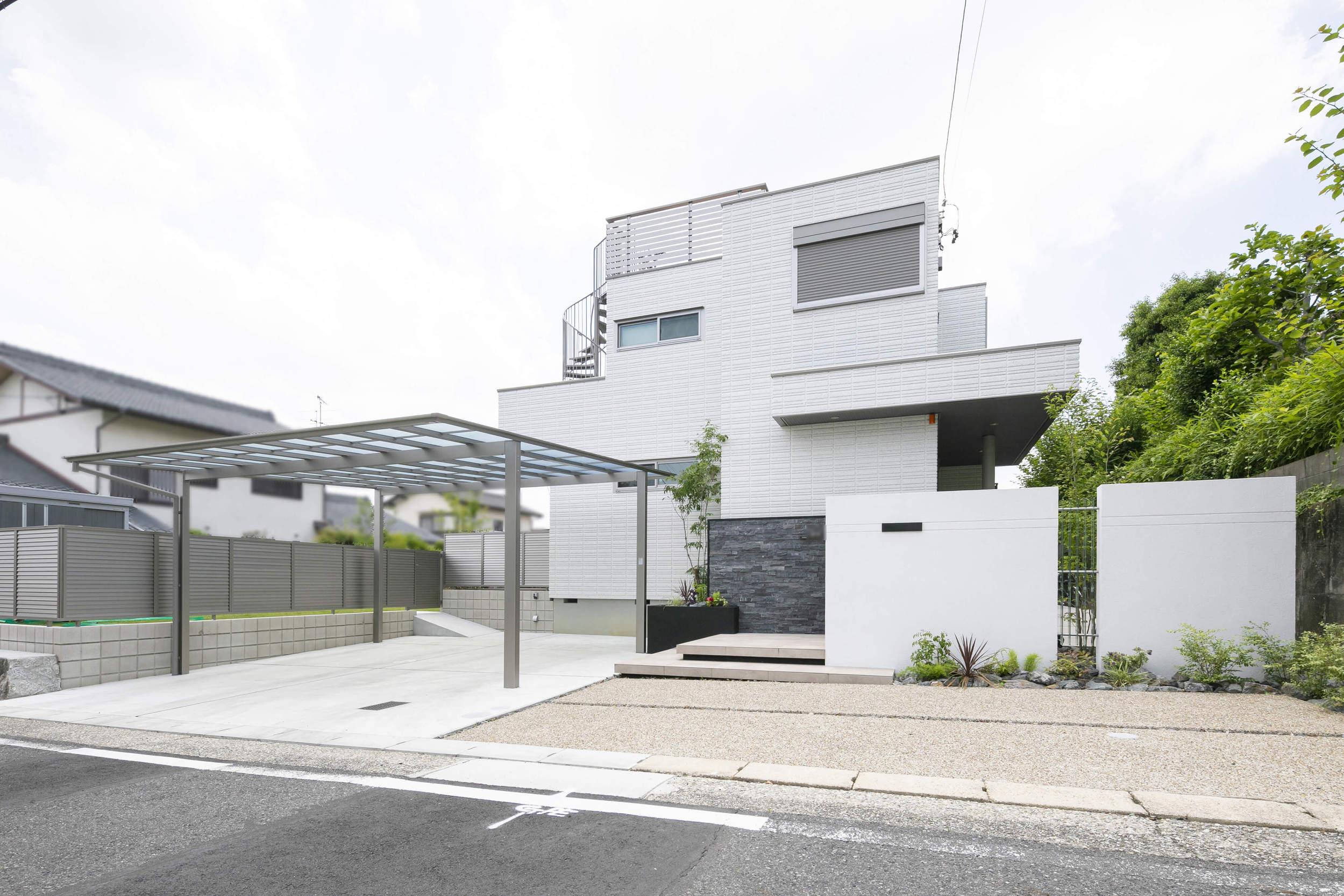 へーベルハウス 新築外構 外構 シンプル ガラスパネル