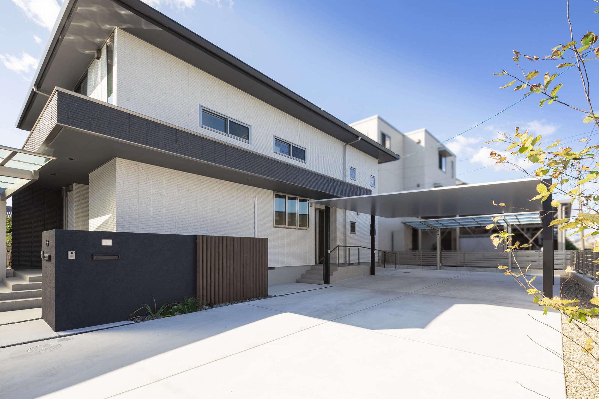 へーベルハウス 新築外構 二世帯住宅 外構 シンプルモダンデザイン カーポート