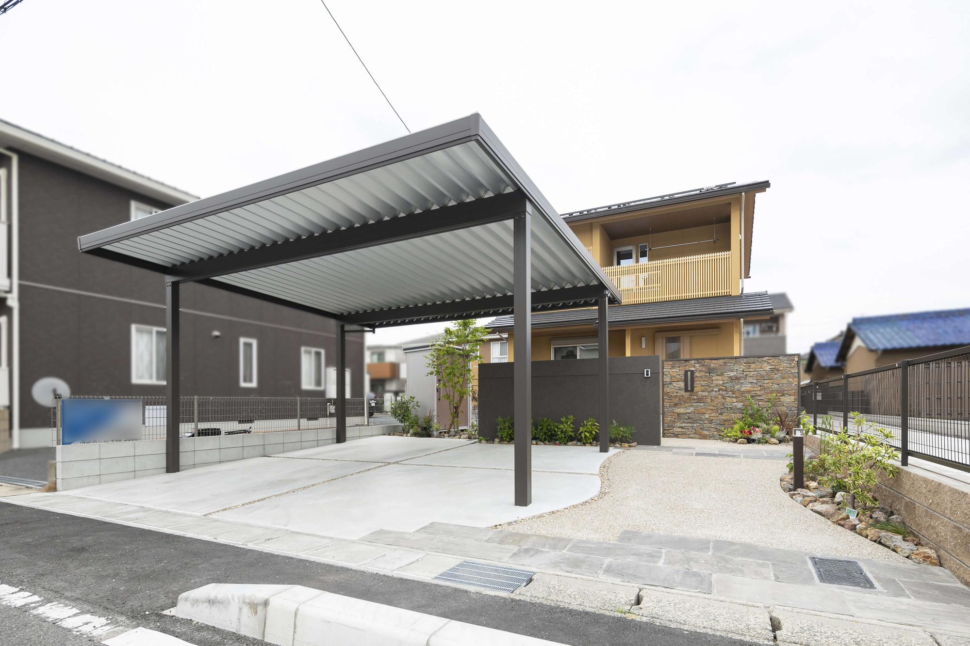 新築外構 渡邉工務店 ナチュラル 自然石 和風建築